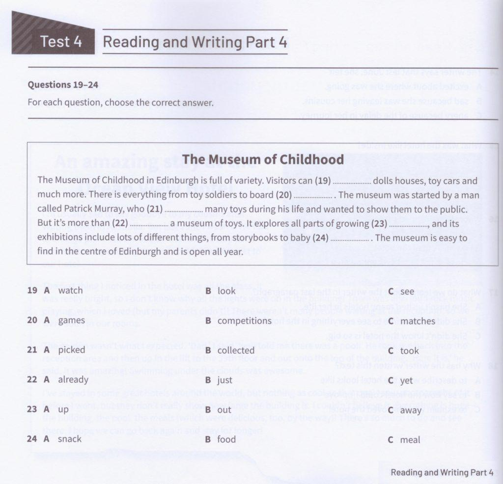 KET Reading and Writing part 4